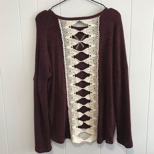 Sweaters - Dark red sweater with crochet back detail